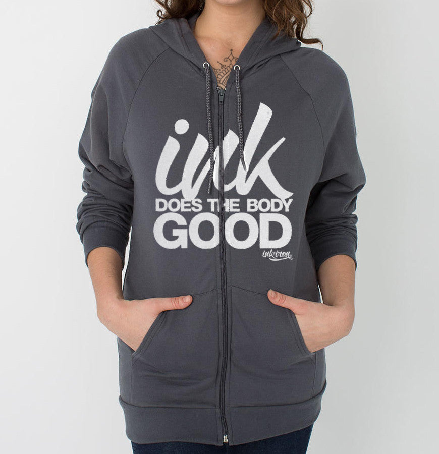 Ink Does The Body Good - Front Print Womens Fleece Zip Hoodie - Ink and Iron co.
