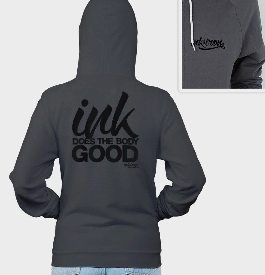 Ink Does The Body Good - Ladies Back Print Fleece Zip Hoodie - Ink and Iron co.