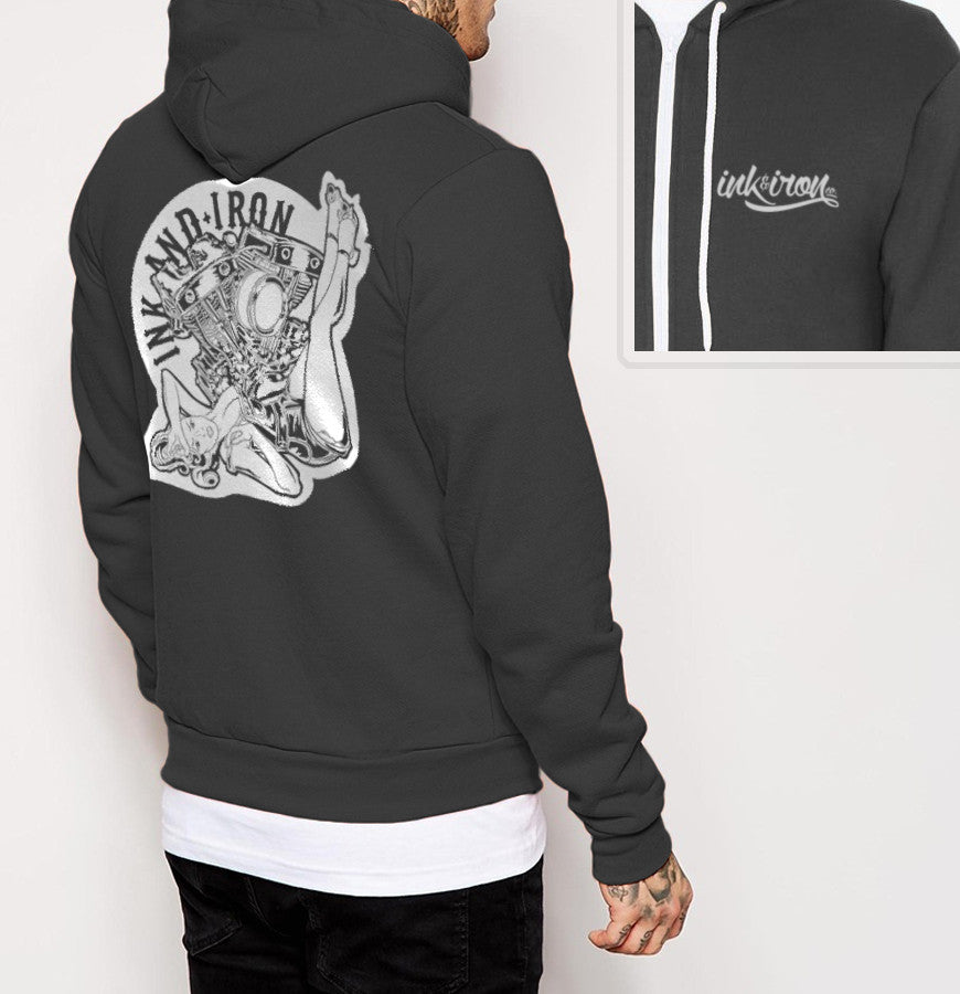 Pinup Branded - Mens Back Print Fleece Zip Hoodie - Ink and Iron co.