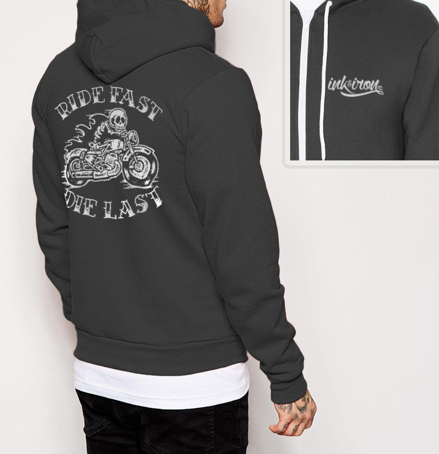 Ride Fast - Mens Back Print Fleece Zip Hoodie - Ink and Iron co.