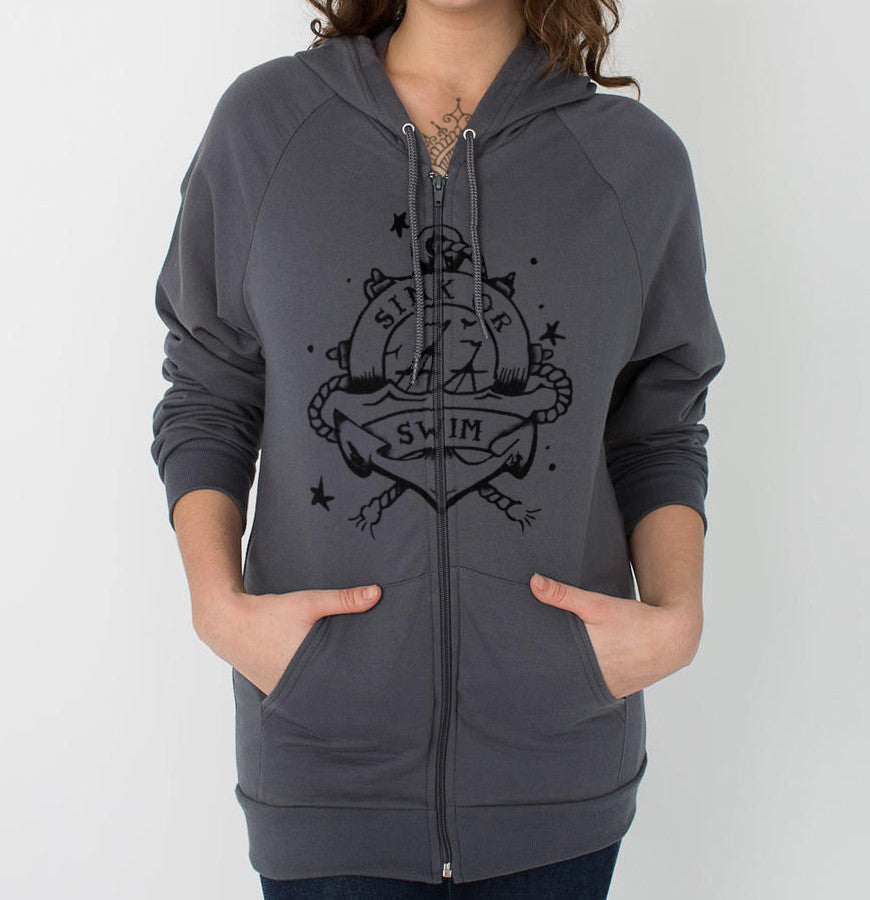 Sink or Swim - Front Print Womens Fleece Zip Hoodie - Ink and Iron co.