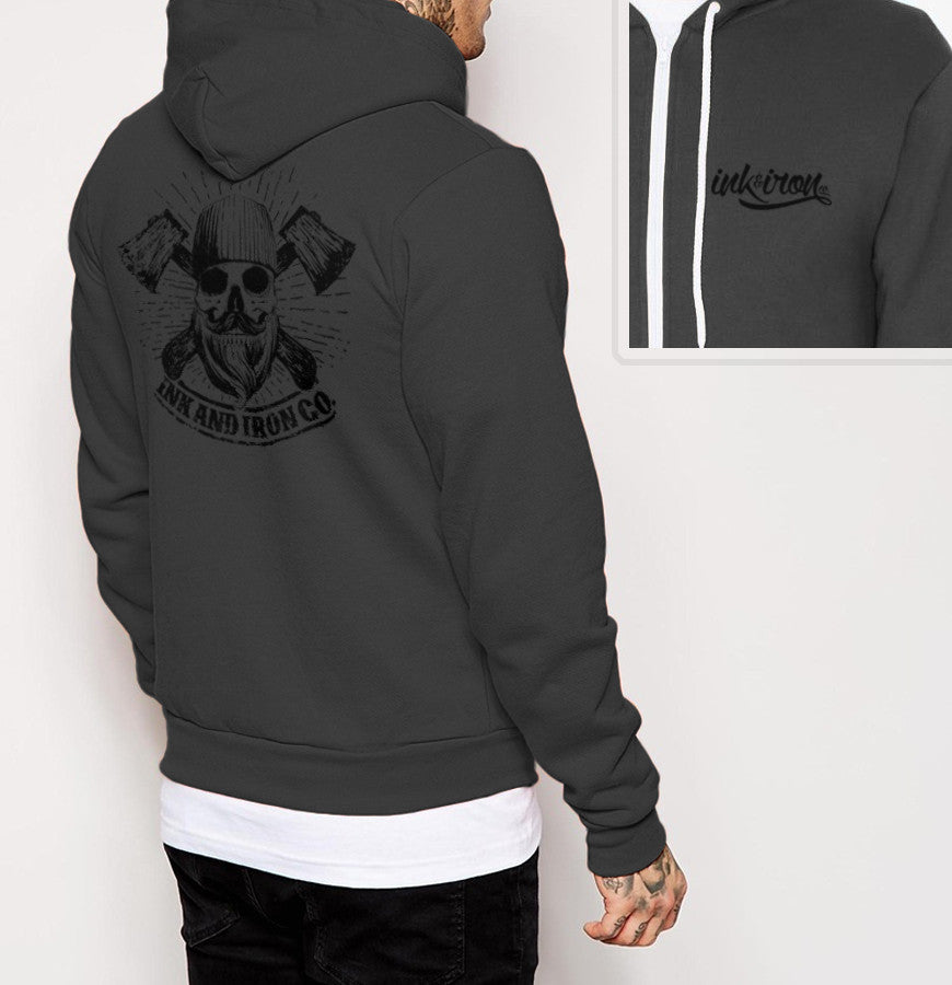 Skull Branded - Mens Back Print Fleece Zip Hoodie - Ink and Iron co.