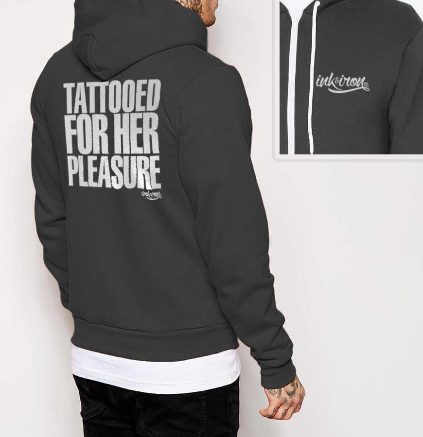 Tattooed For Her Pleasure - Mens Back Print Fleece Zip Hoodie - Ink and Iron co.