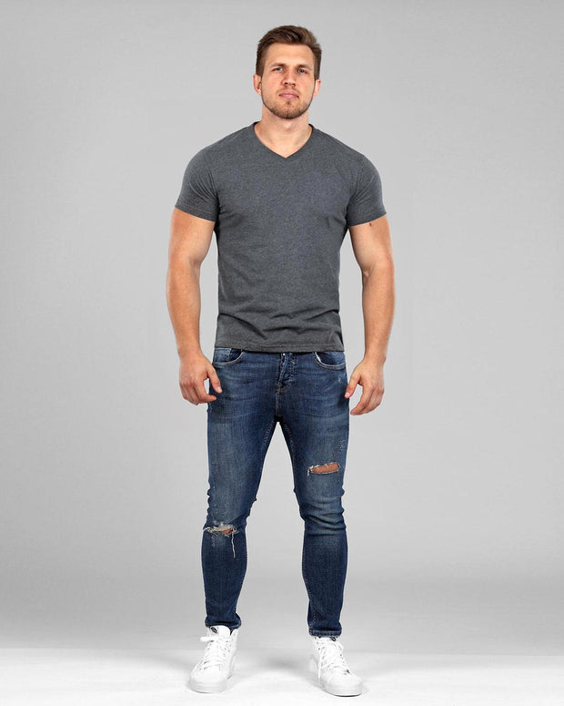 V-Neck Basic Muscle Fitted Plain T-Shirt - Dark Grey