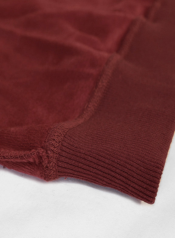 Fleece Crew Heavyweight Basic Sweatshirt - Burgundy