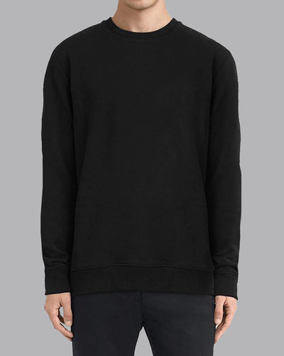 Fleece Crew Heavyweight Basic Sweatshirt - Black - Muscle Fit Basics - 3