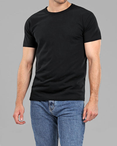 Crew Basic Muscle Fitted Plain T-Shirt - Black - Muscle Fit Basics