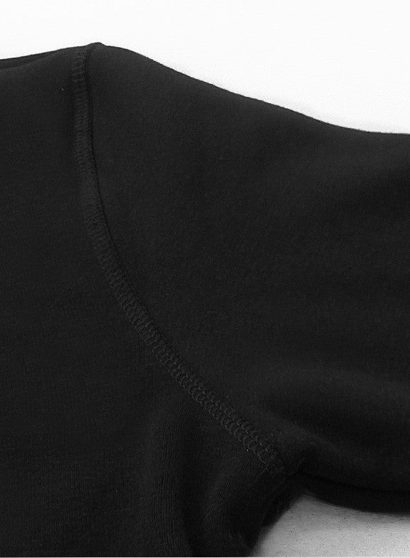 Fleece Crew Heavyweight Basic Sweatshirt - Black - Muscle Fit Basics  - 4