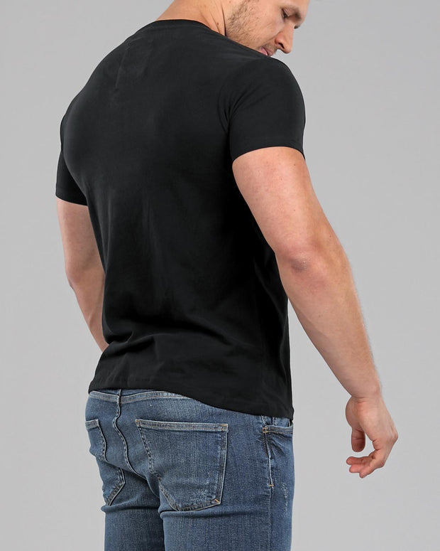 black heavyweight sueded cotton muscle fit basics t-shirt vee neck