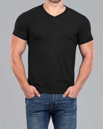 V-Neck Basic Muscle Fitted Plain T-Shirt - Black