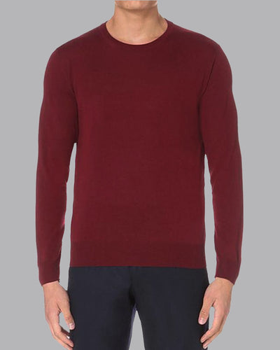 Fleece Crew Heavyweight Basic Sweatshirt - Burgundy - Muscle Fit Basics - 1