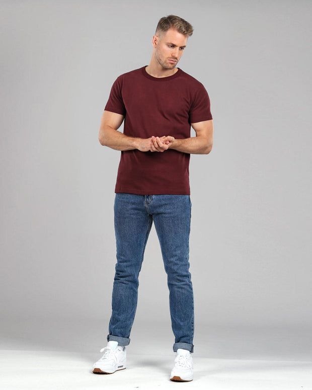 burgundy red muscle fitted basics heavyweight suede cotton t-shirt