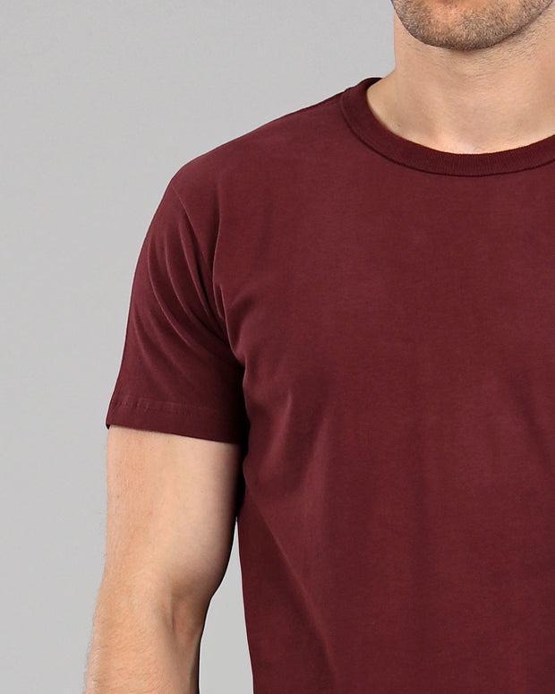 225e701ac0c1 burgundy red muscle fitted basics heavyweight suede cotton t-shirt