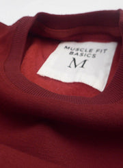 Fleece Crew Heavyweight Basic Sweatshirt - Burgundy - Muscle Fit Basics  - 3