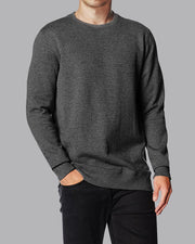 Crew Basic Heavyweight Fleece Sweatshirt - Dark Grey - Muscle Fit Basics - 1