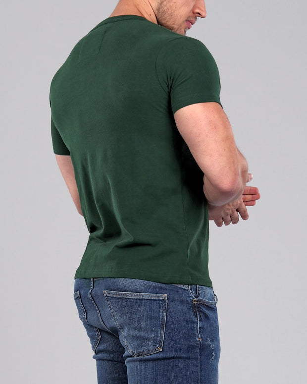 Dark Green - Muscle Fit Basics - crew round neck