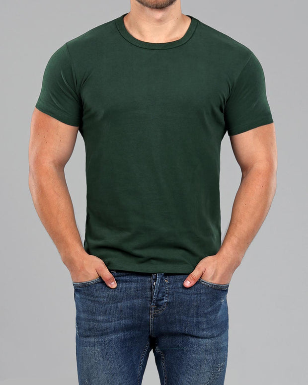 Crew Basic Muscle Fitted Plain T-Shirt - Dark Green
