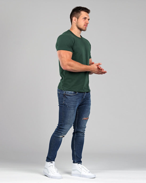 Crew Basic Muscle Fitted Plain T-Shirt - Dark Green - Muscle Fit Basics - 2