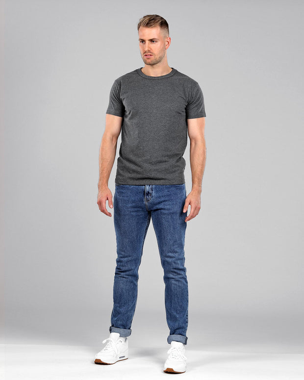 dark grey gray muscle fitted basics heavyweight suede cotton t-shirt