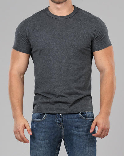 dark grey crew neck muscle fit t shirt