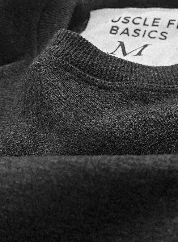 Crew Basic Heavyweight Fleece Sweatshirt - Dark Grey - Muscle Fit Basics  - 3