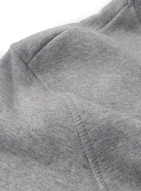 Fleece Crew Heavyweight Basic Sweatshirt - Heather Grey - Muscle Fit Basics  - 4