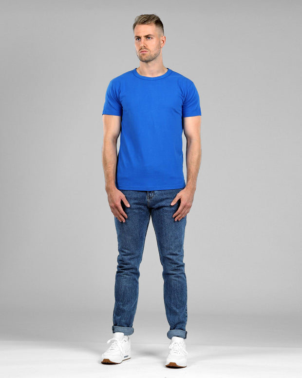 Crew Basic Muscle Fitted Plain T-Shirt - Light Blue