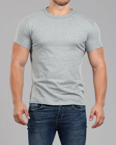 Crew Round Neck T-Shirt Light Grey - Muscle Fit Basics