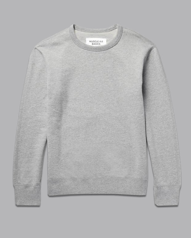 Fleece Crew Heavyweight Basic Sweatshirt - Heather Grey - Muscle Fit Basics