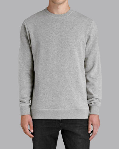 Fleece Crew Heavyweight Basic Sweatshirt - Heather Grey - Muscle Fit Basics - 1