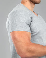 V-Neck Basic Muscle Fitted Plain T-Shirt - Light Grey