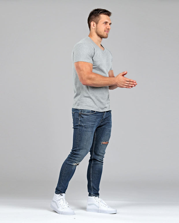 V-Neck Basic Muscle Fitted Plain T-Shirt - Light Grey - Muscle Fit Basics - 2