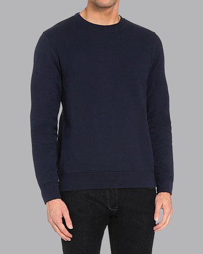 Fleece Crew Heavyweight Basic Sweater - Navy