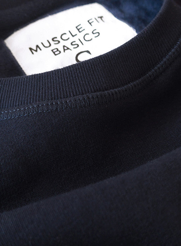 Fleece Crew Heavyweight Basic Sweatshirt - Navy - Muscle Fit Basics  - 3