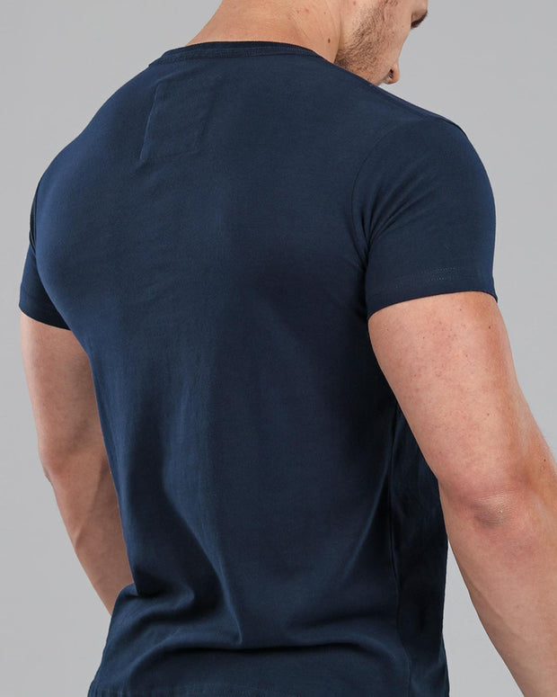 navy muscle fit basics v neck back