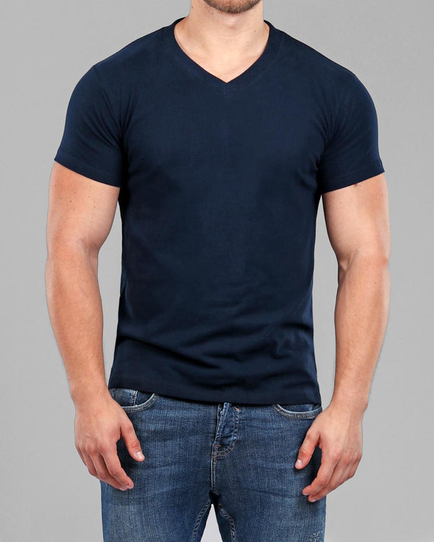 V-Neck Basic Muscle Fitted Plain T-Shirt - Navy