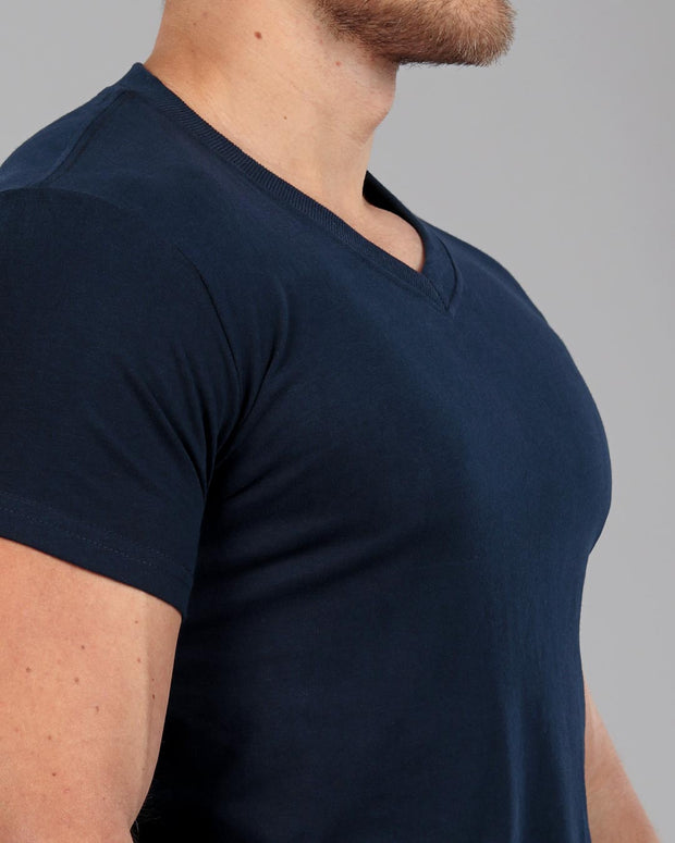 c5229fcd V-Neck Basic Muscle Fitted Plain T-Shirt - Navy - Muscle Fit Basics