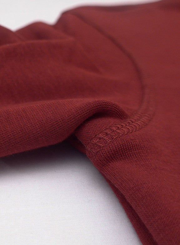 Fleece Crew Heavyweight Basic Sweatshirt - Burgundy - Muscle Fit Basics  - 4