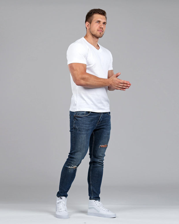 V-Neck Basic Muscle Fitted Plain T-Shirt - White - Muscle Fit Basics