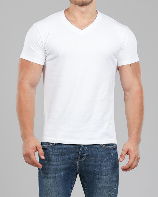 V-Neck Basic Muscle Fitted Plain T-Shirt - White