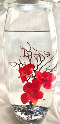 "10"" Vase with Mediteranian Red Pua"