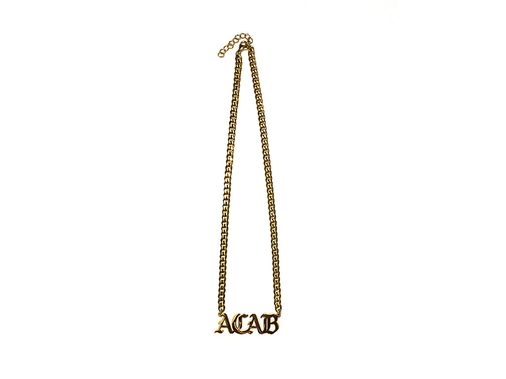 "Image of gold ACAB necklace with 16"" chain"