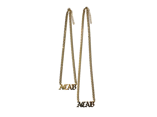 "Image of Image of gold ACAB necklace with 16"" chain and gold ACAB necklace with 20"" chain"