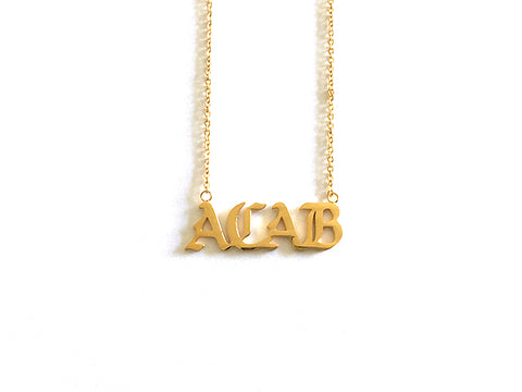"Gold ""ACAB"" Nameplate Necklace"