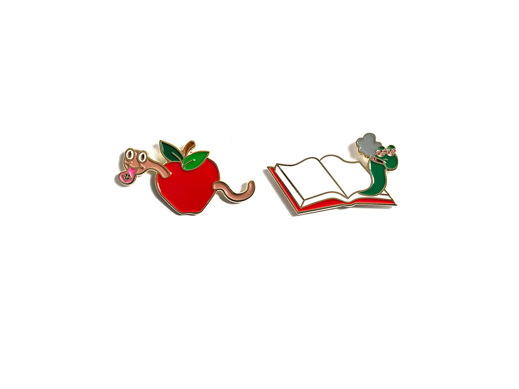 Bookworm Pin Set