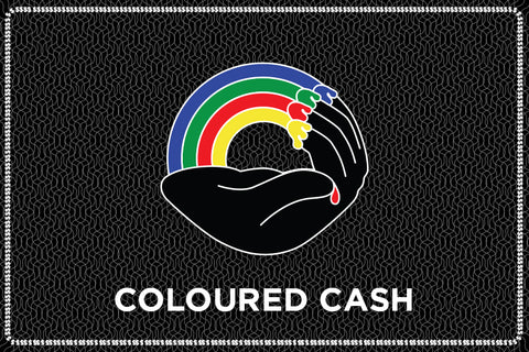 "Image of gift card with Coloured Publishing logo and ""COLOURED CASH"" label"