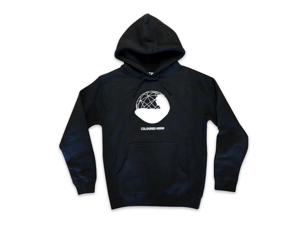 Photo of the front of the Coloured x H33M hoodie with graphic reflecting light.