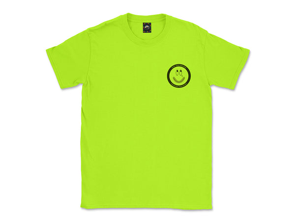 Image of neon Fuck Your Feelings Happy Face tee