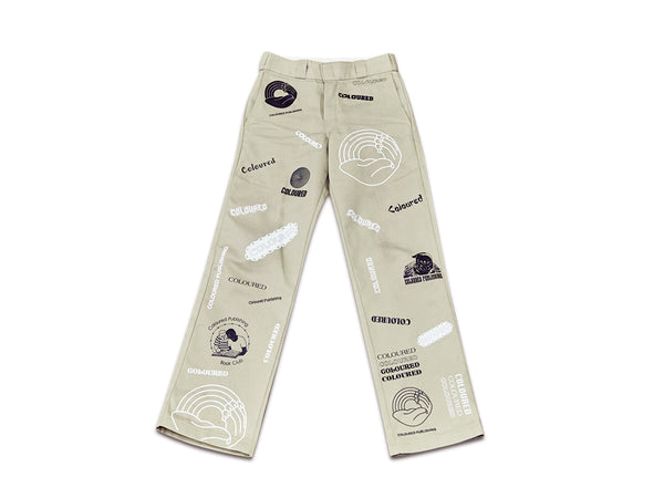Image of front side of khaki custom COLOURED pants