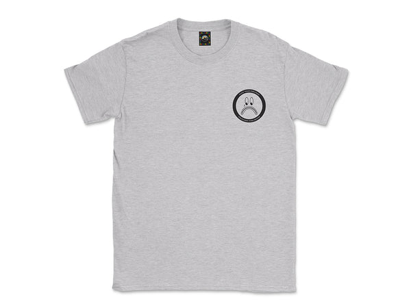 Image of heather gray Fuck Your Feelings Sad Face tee